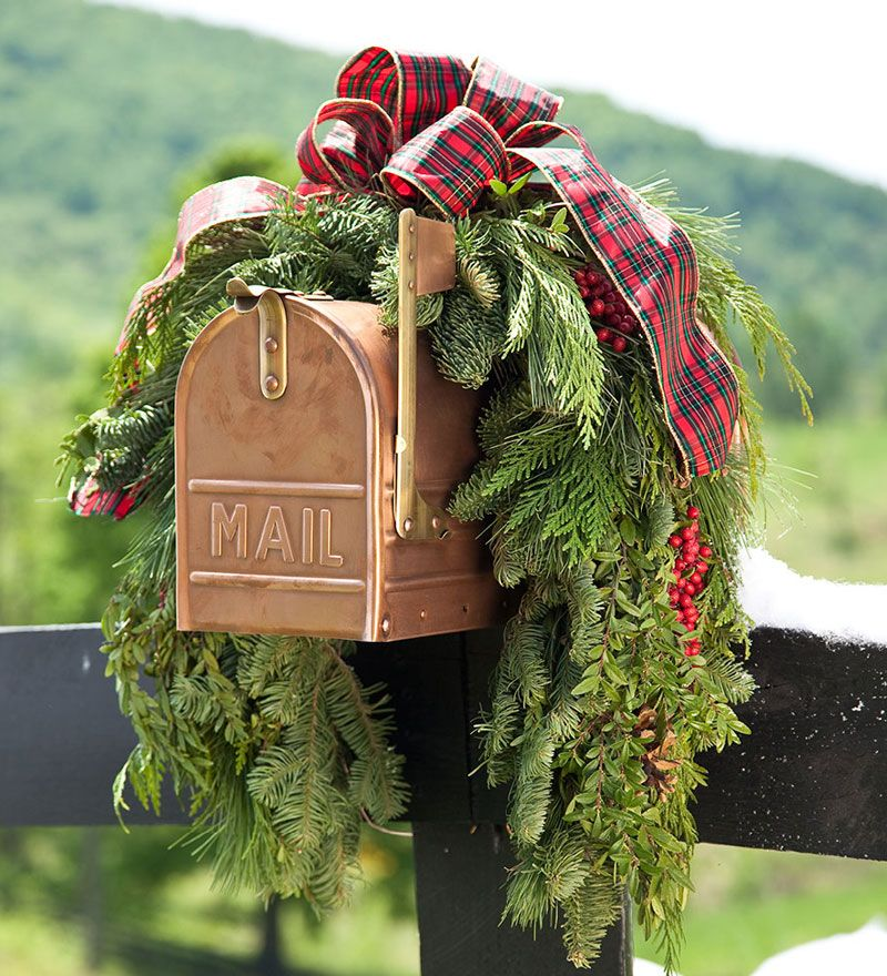 Holiday Woodland Evergreens Mailbox Swag With Bow Christmas Mailbox Decorations Outdoor Christmas Decorations Christmas Diy