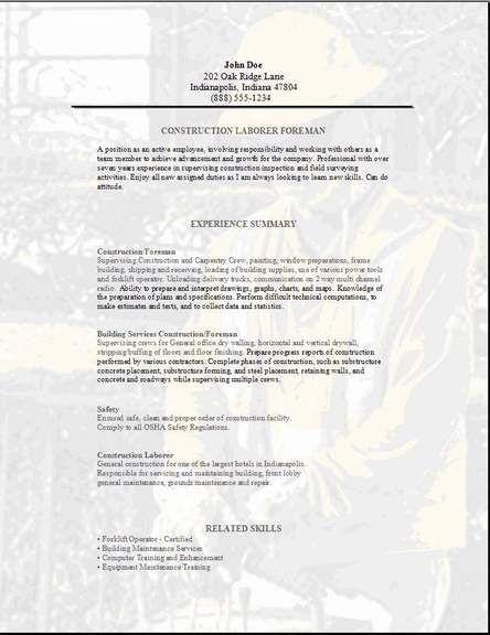 Construction Foreman Resume3 chicago jobs Pinterest - construction foreman resume