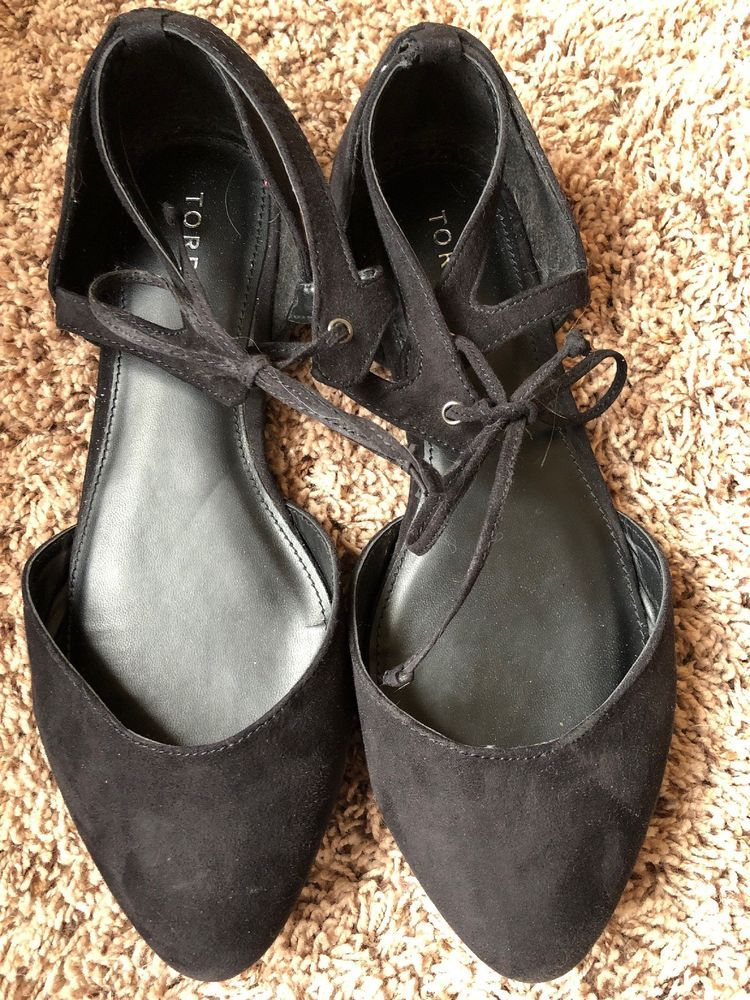 arriving new york incredible prices Torrid Womens Size 11 Wide Black Ankle Tie Ballet Flat Shoes ...