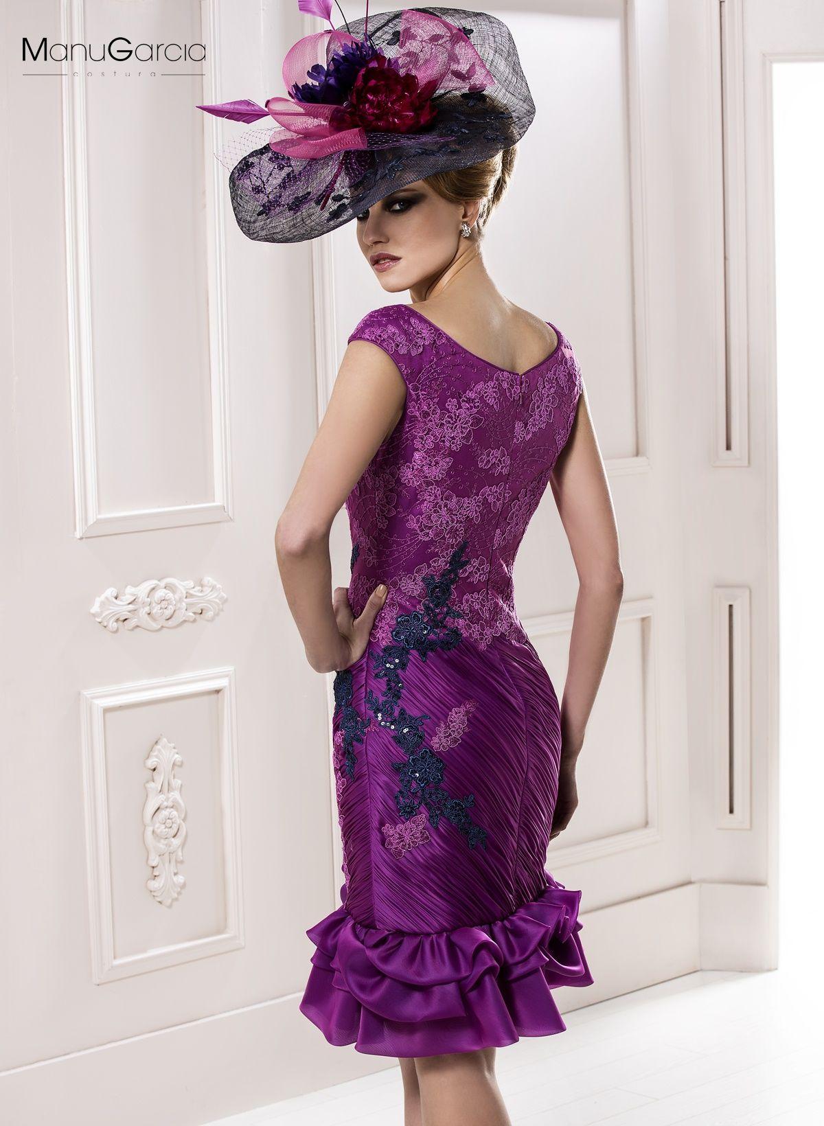 Vestido de cóctel de organza bugambilla y tul bordado a tono falda ...