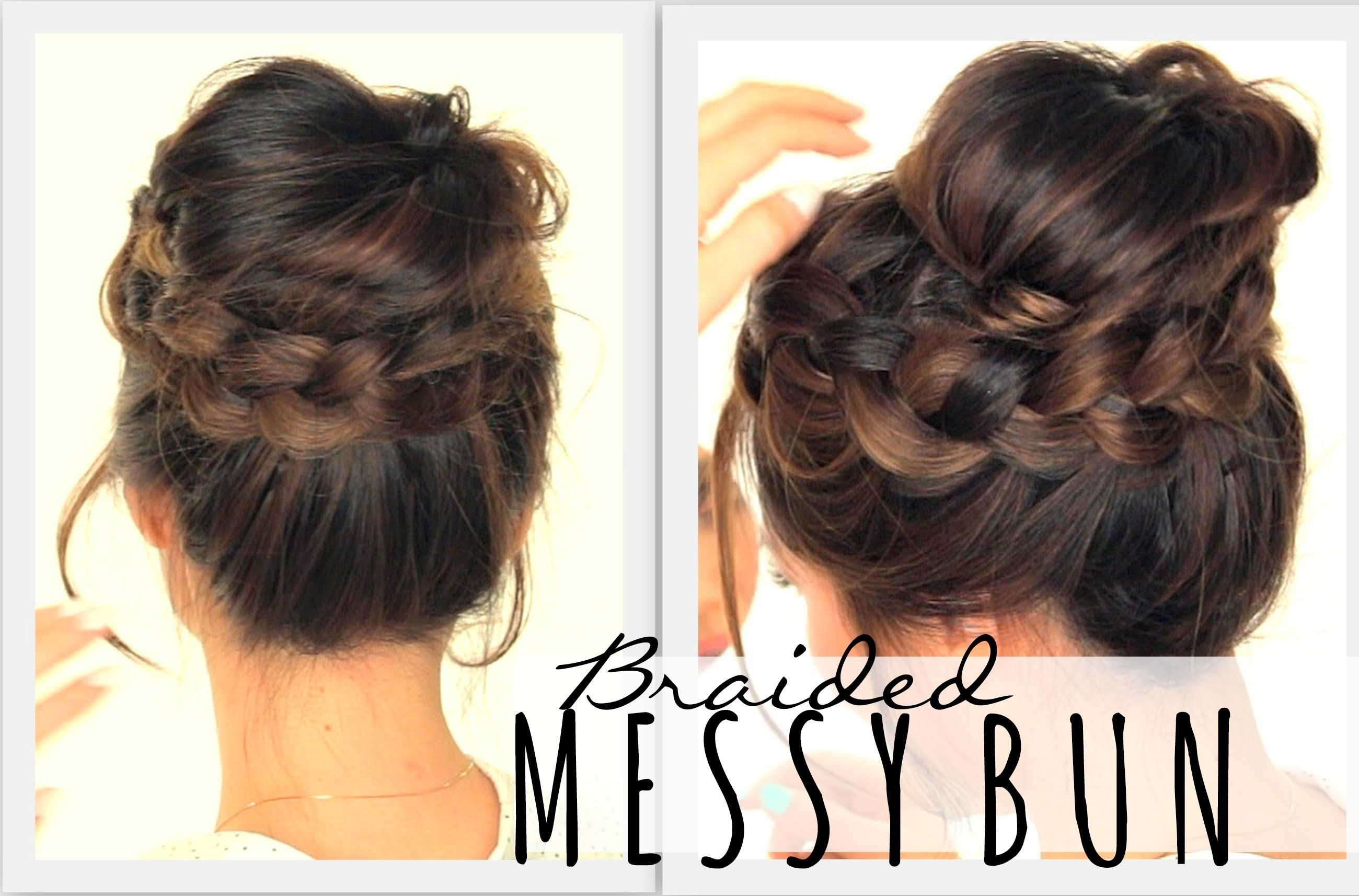 Ndday hairstyles messy bun crown braid hair tutorial