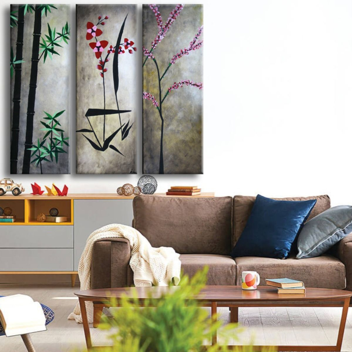 Abstract Asian Flowers Triptych Painting Original 3 Canvas Floral Acrylic On Canvas Home Wall Artwork Ready To Hang Made To Order Asian In 2020 Asian Flowers Wall Artwork Canvas Home