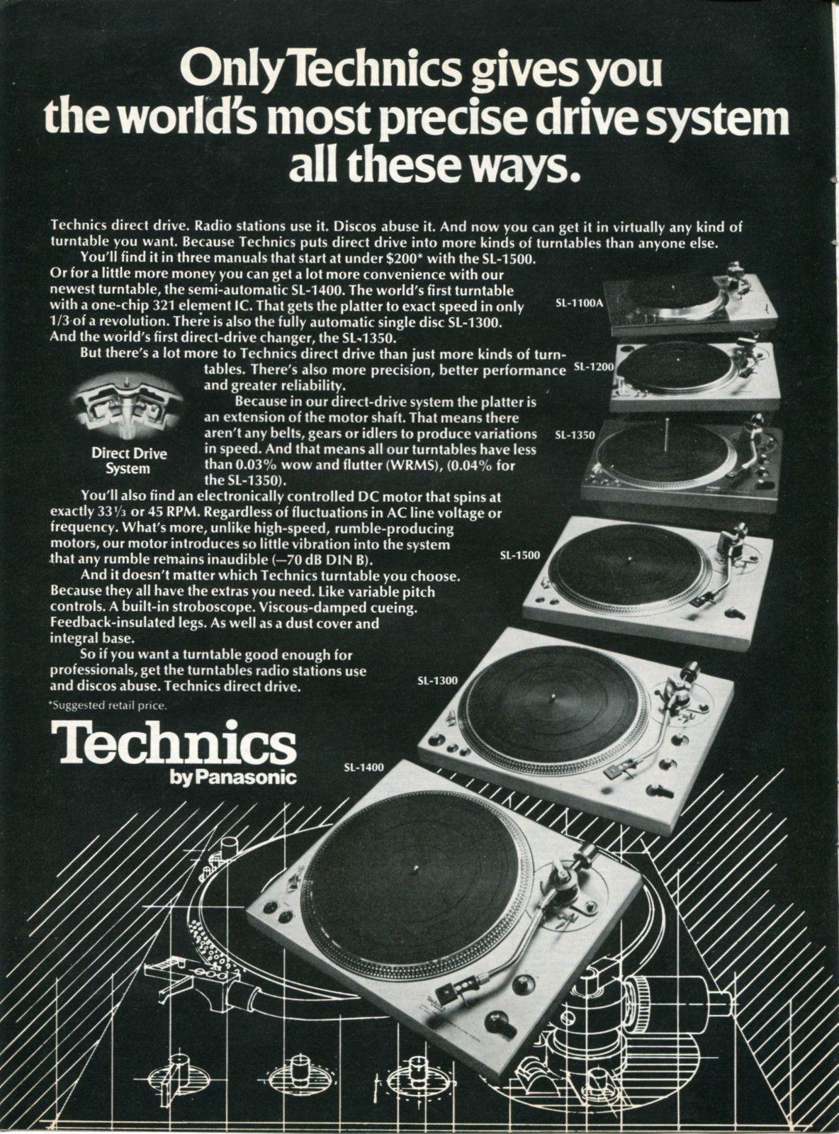 1976 Panasonic Technics Direct Drive Dj Turntables Retro