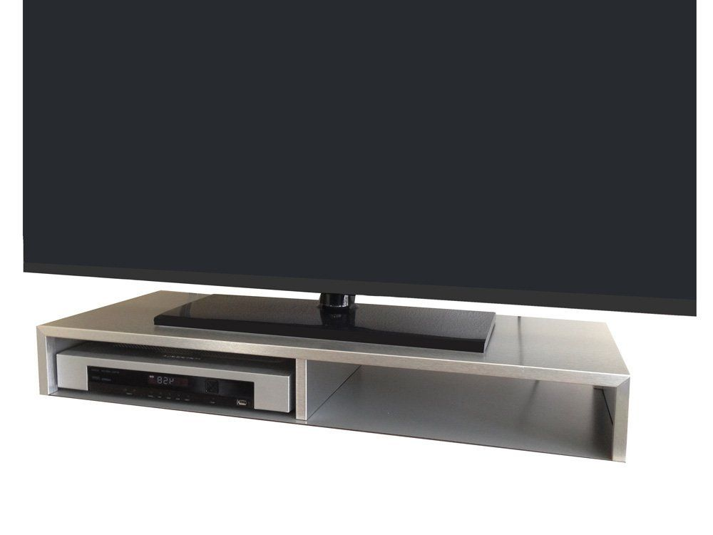Amazon Com Tabletop Tv Stand For Flat Screen Brushed Aluminum