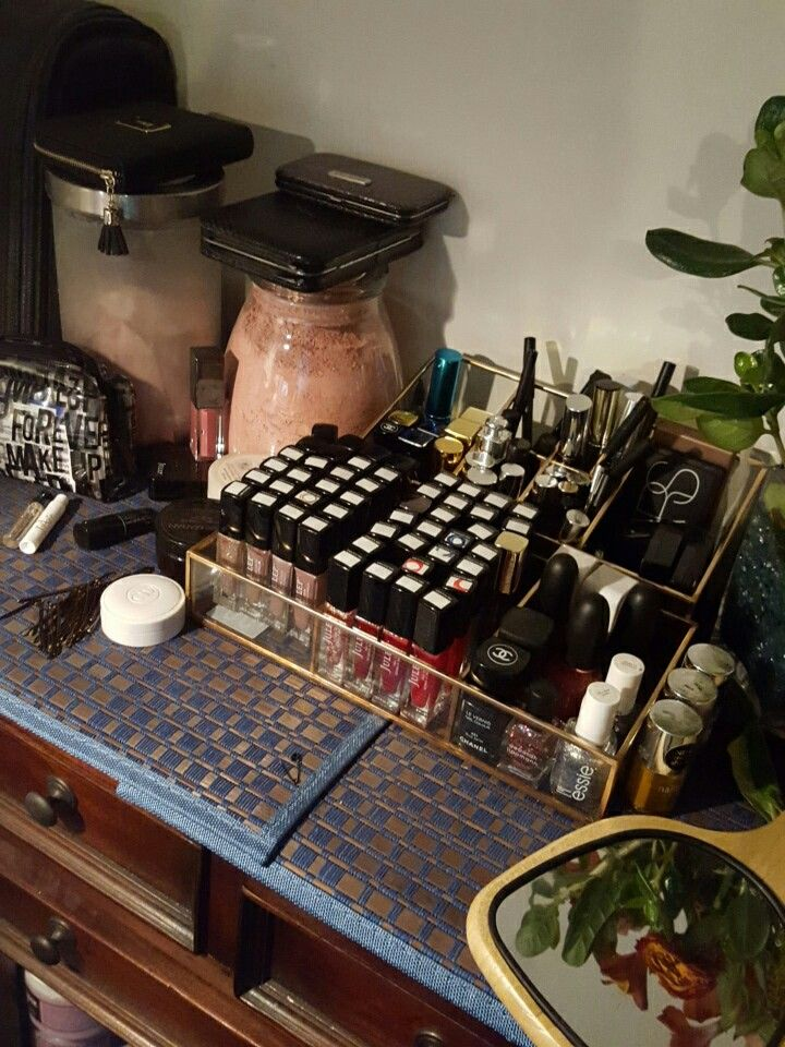 Awesome Websites Makeup and nail collection organized with Threshold glass vanity organizer and tray from Target