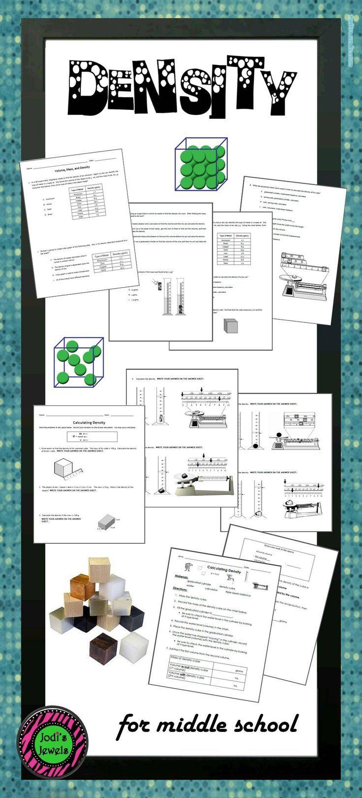 Middle School density worksheets for grades 5 7. Lab