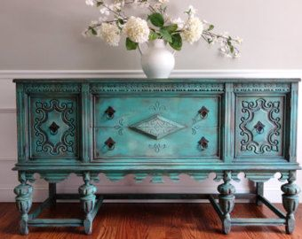 SOLD To Mario   Antique Hand Painted French Country Renaissance Romantic  Jacobean Style Turquoise Buffet Sideboard