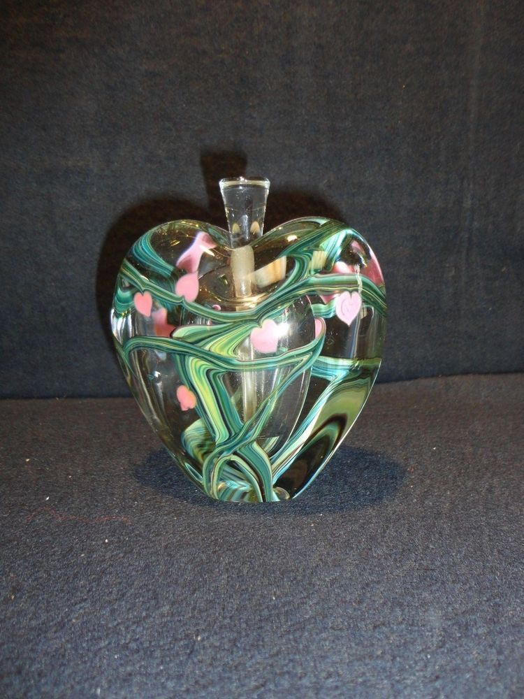 1988 Signed Zellique Studio Art Glass Perfume Heart Joseph Morel bottle
