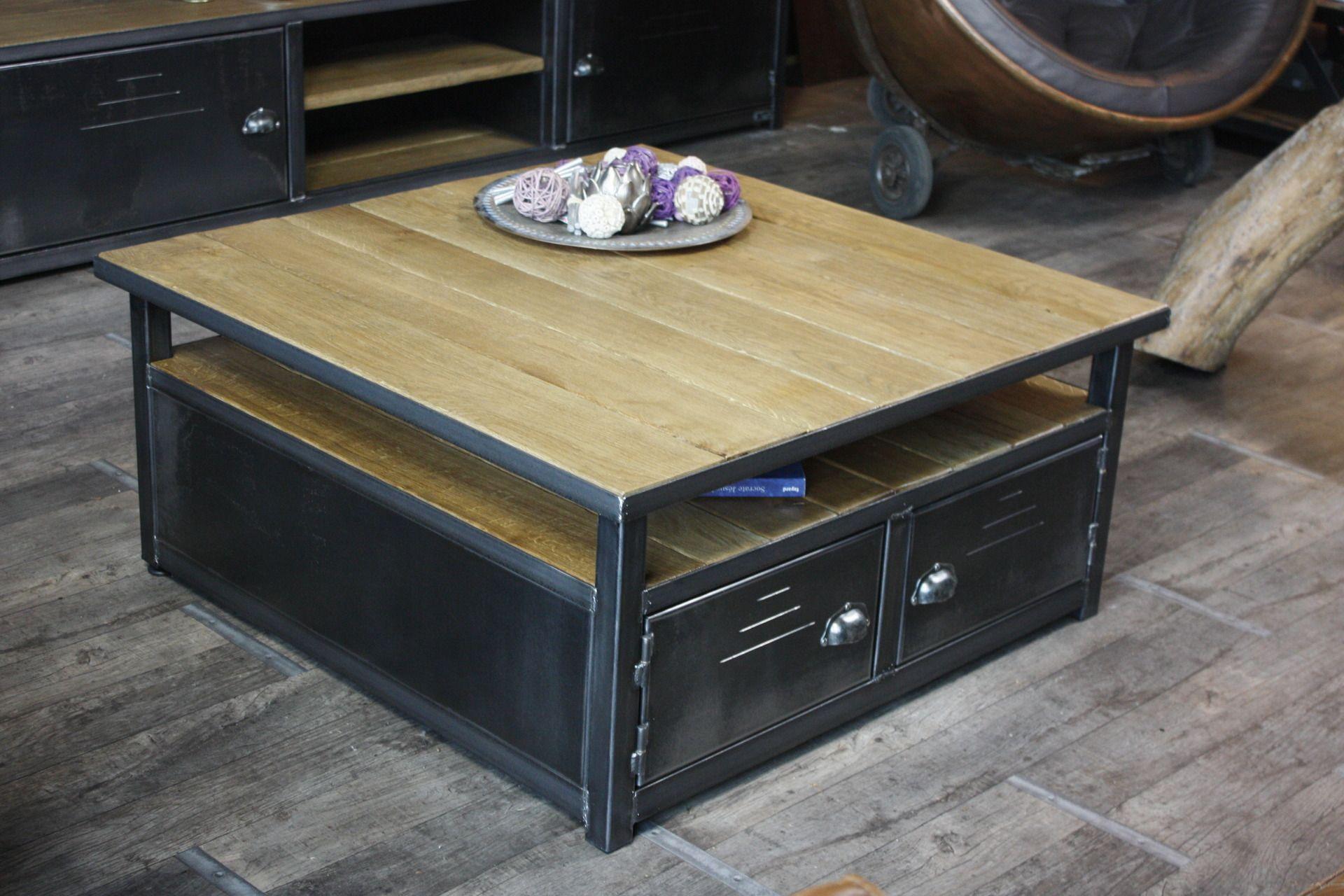 Table basse caisson bois métal - Table basse de rangement sur ...