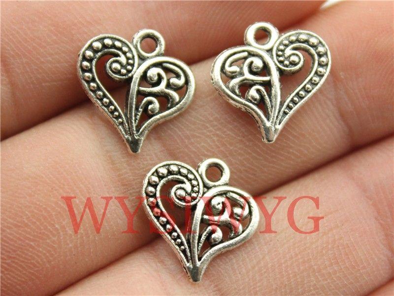 Wysiwyg 10 unids 15 * 14 mm plata antigua de los encantos del corazón
