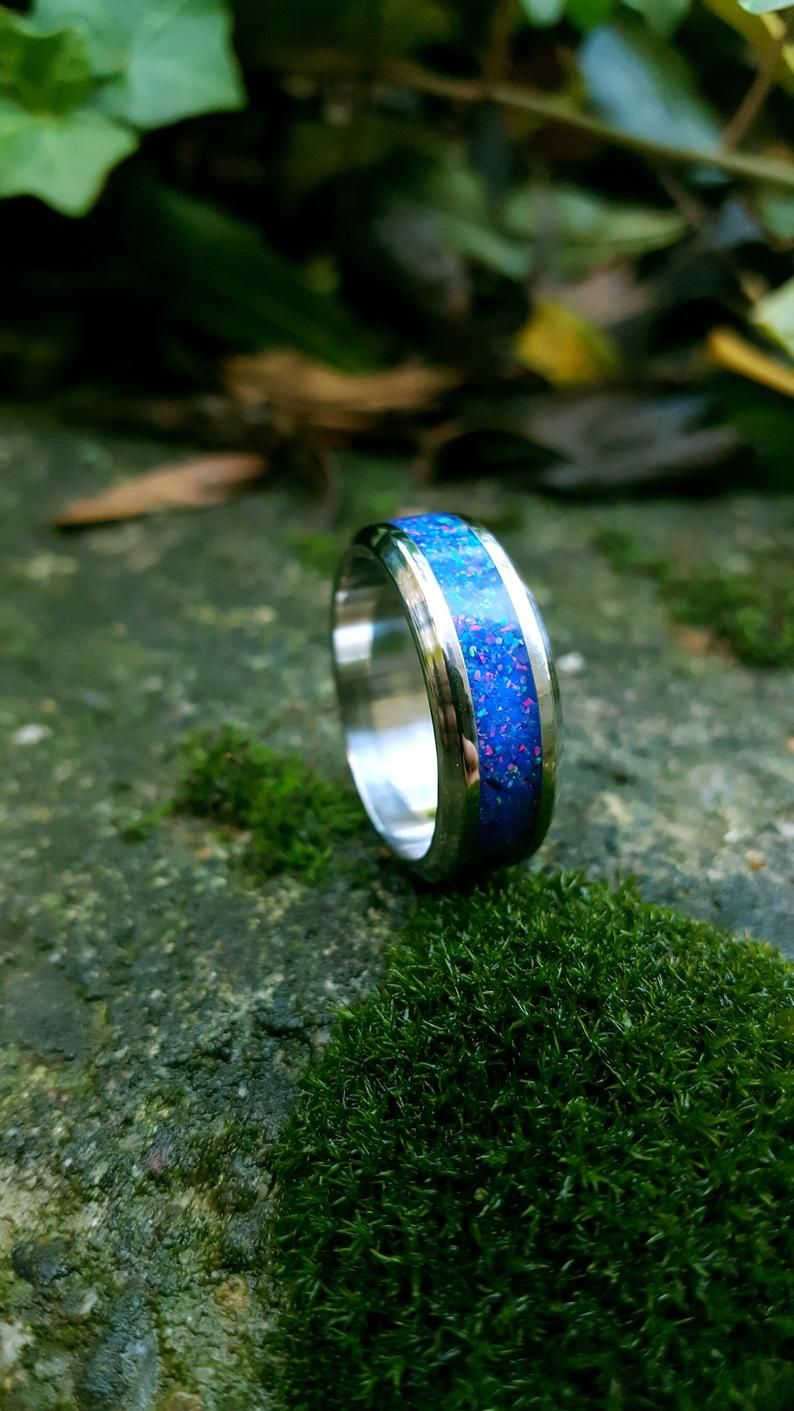 Wedding Ring Stainless Steel Ring with Crushed Dark Blue