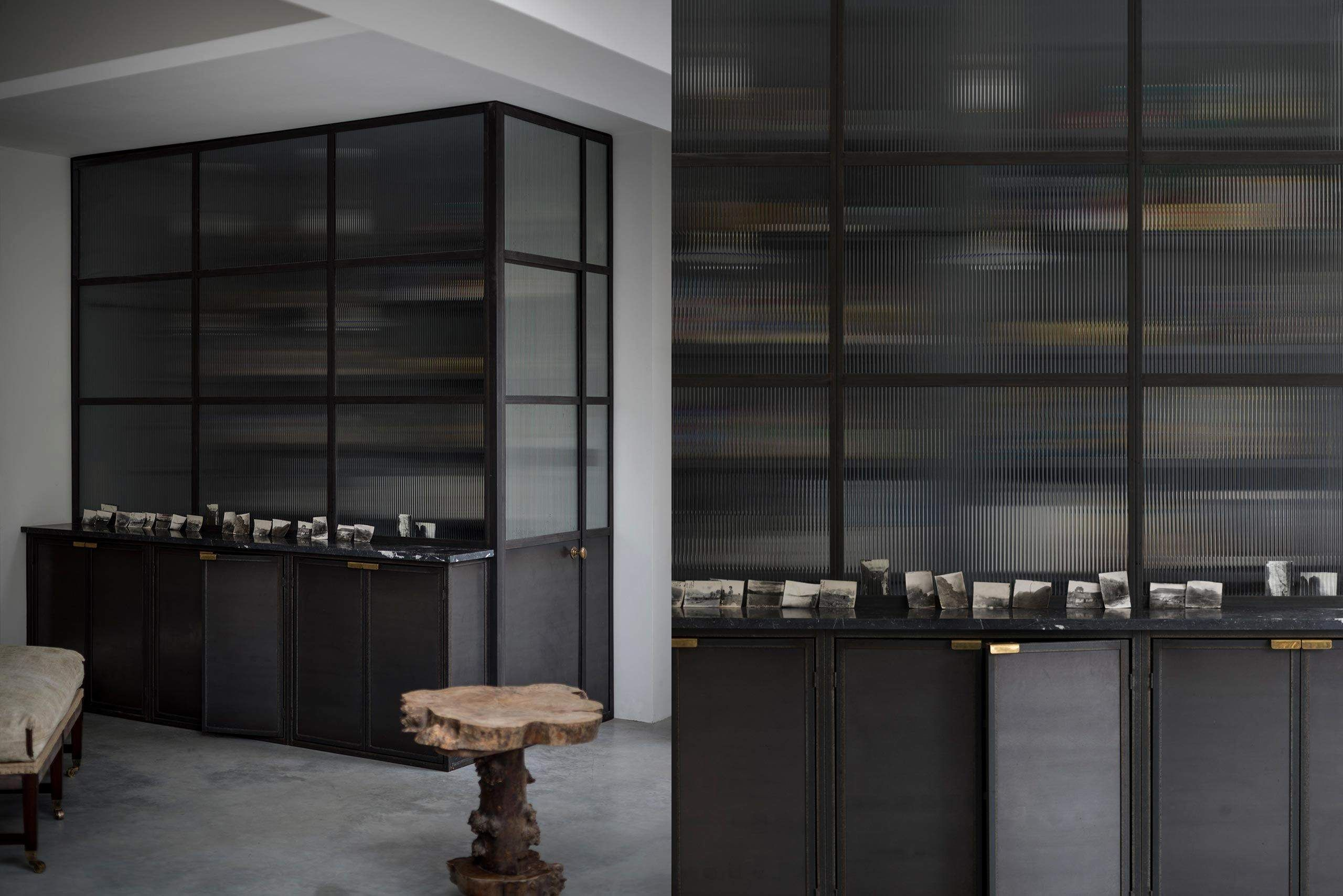 Kitchen With Black Metal Frame Work And Reeded Glass Doors Reeded Glass Glass Kitchen Cabinets Kitchen Pantry Cupboard