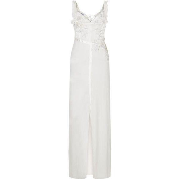 La Perla Peony Off-White Long Nightdress in Stretch Silk Georgette ...
