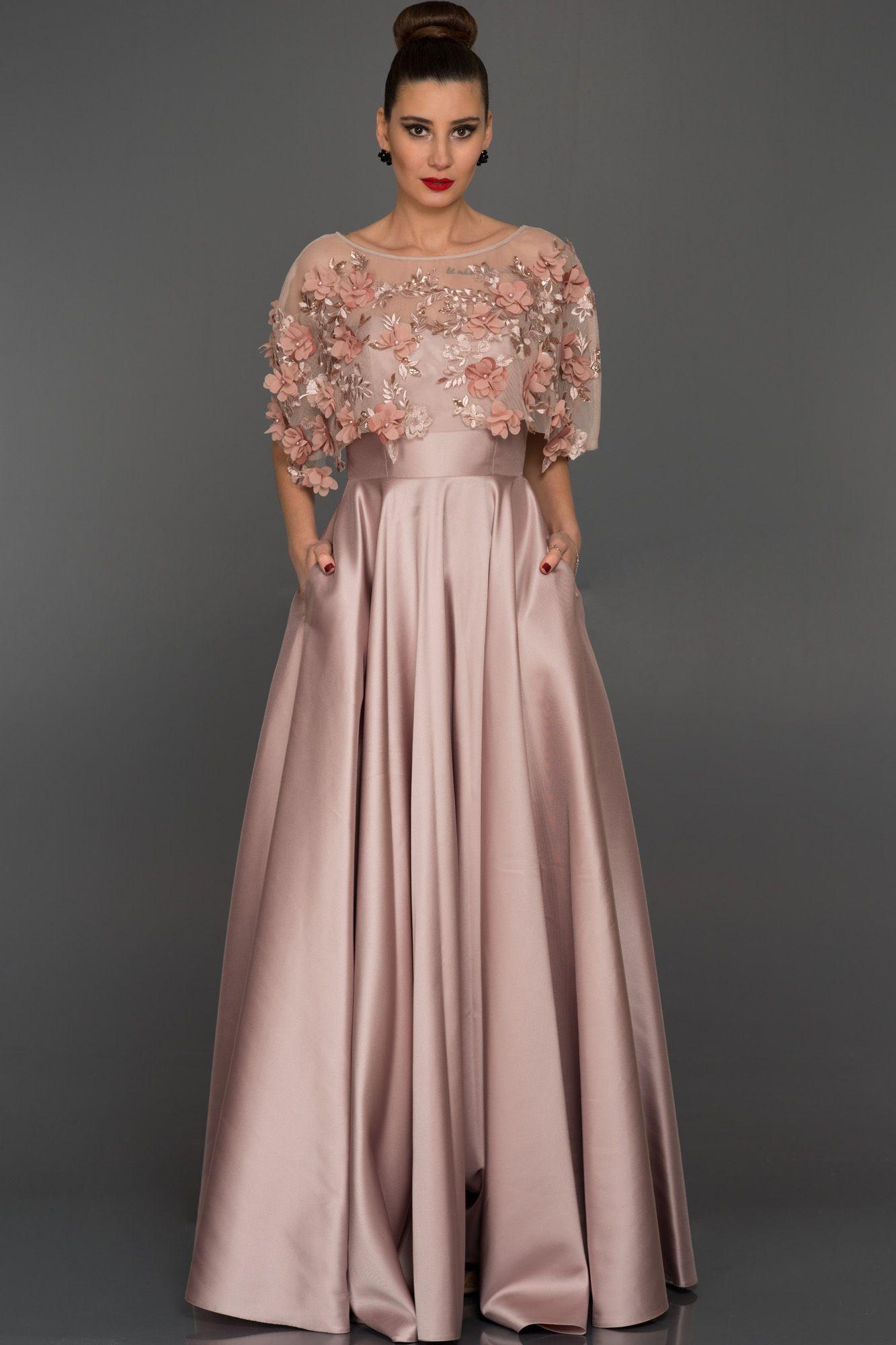 Gul Kurusu Uzun Cicekli Prenses Abiye Abu115 The Dress Kisa Etekli Elbiseler Resmi Elbise
