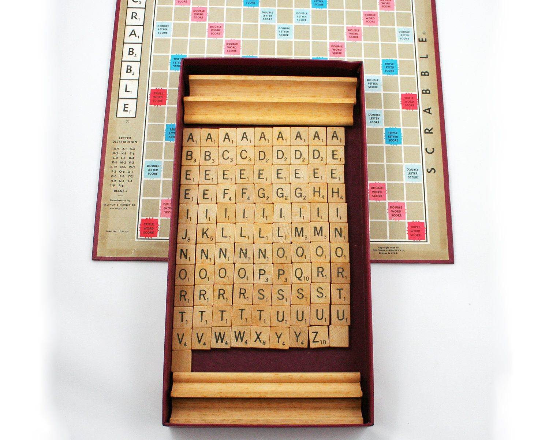 Vintage 1950s Scrabble Game Wood Letter Tiles Crossword Etsy Wood Letters Lettering Family Game Night