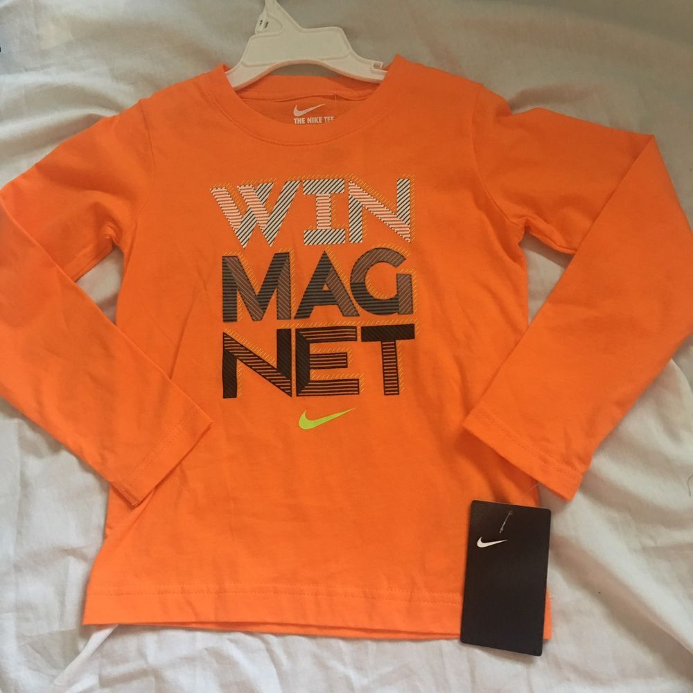 New nike boys long sleeve shirt size 4t orange win