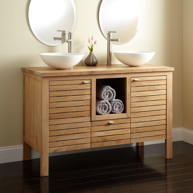 48 Wickham Teak Double Vanity 2 Drain Cutout No Faucet Holes With