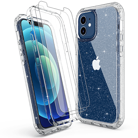 Ulak Phone Case Full Body Crystal Clitter Case for iPhone 12 / 12 ...