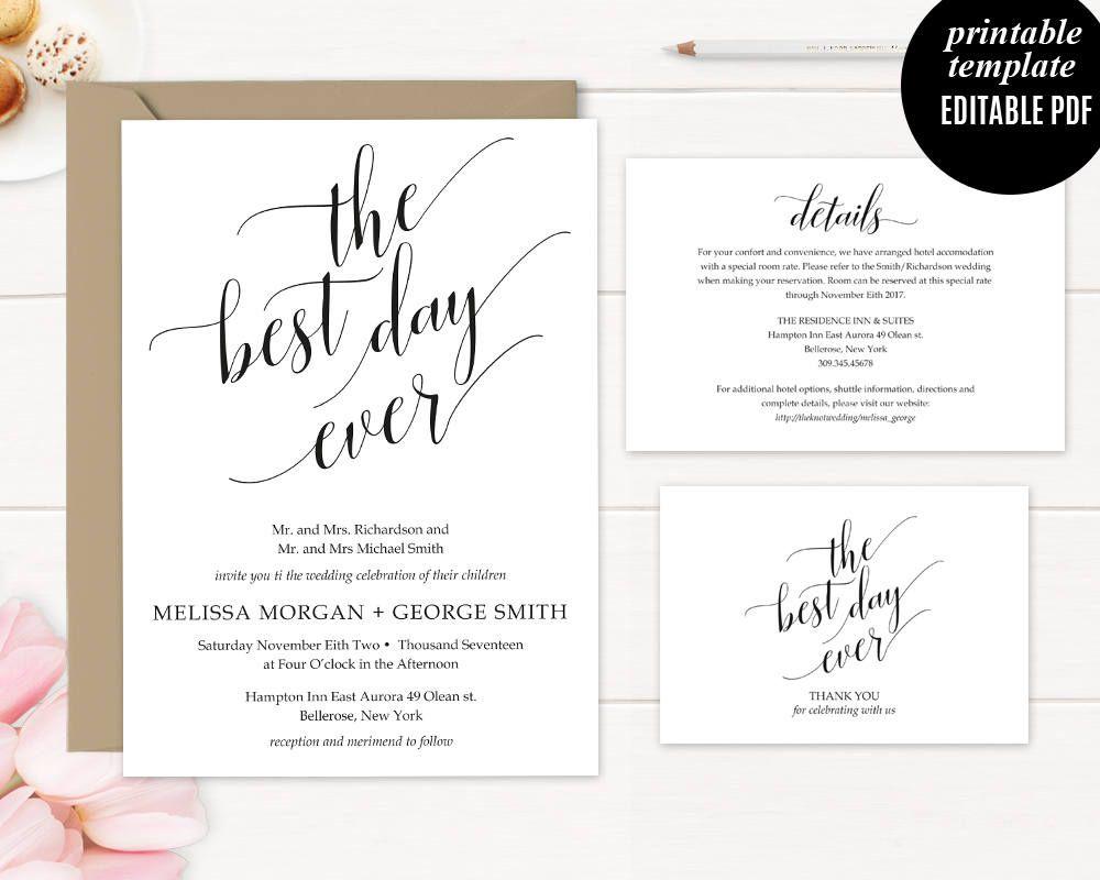 Wedding Invitation Template Printable Calligraphy Modern Wedding - Wedding invitation templates: hotel accommodations template for wedding invitations