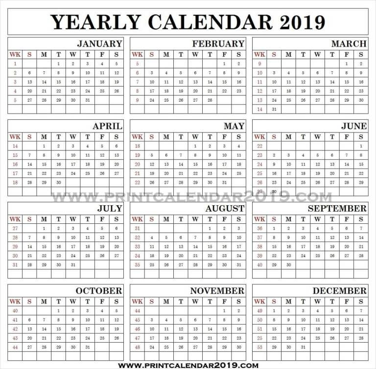2019 Monthly Calendar With Week Numbers Excel Calendar