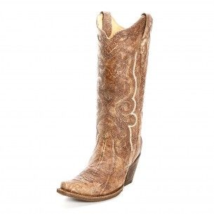 Corral Tobacco Crackled Cowgirl Boots
