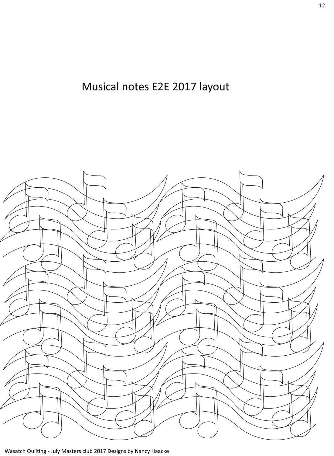 Music Notes E2E pattern. Digitized quilting patterns by Wasatch Quilting