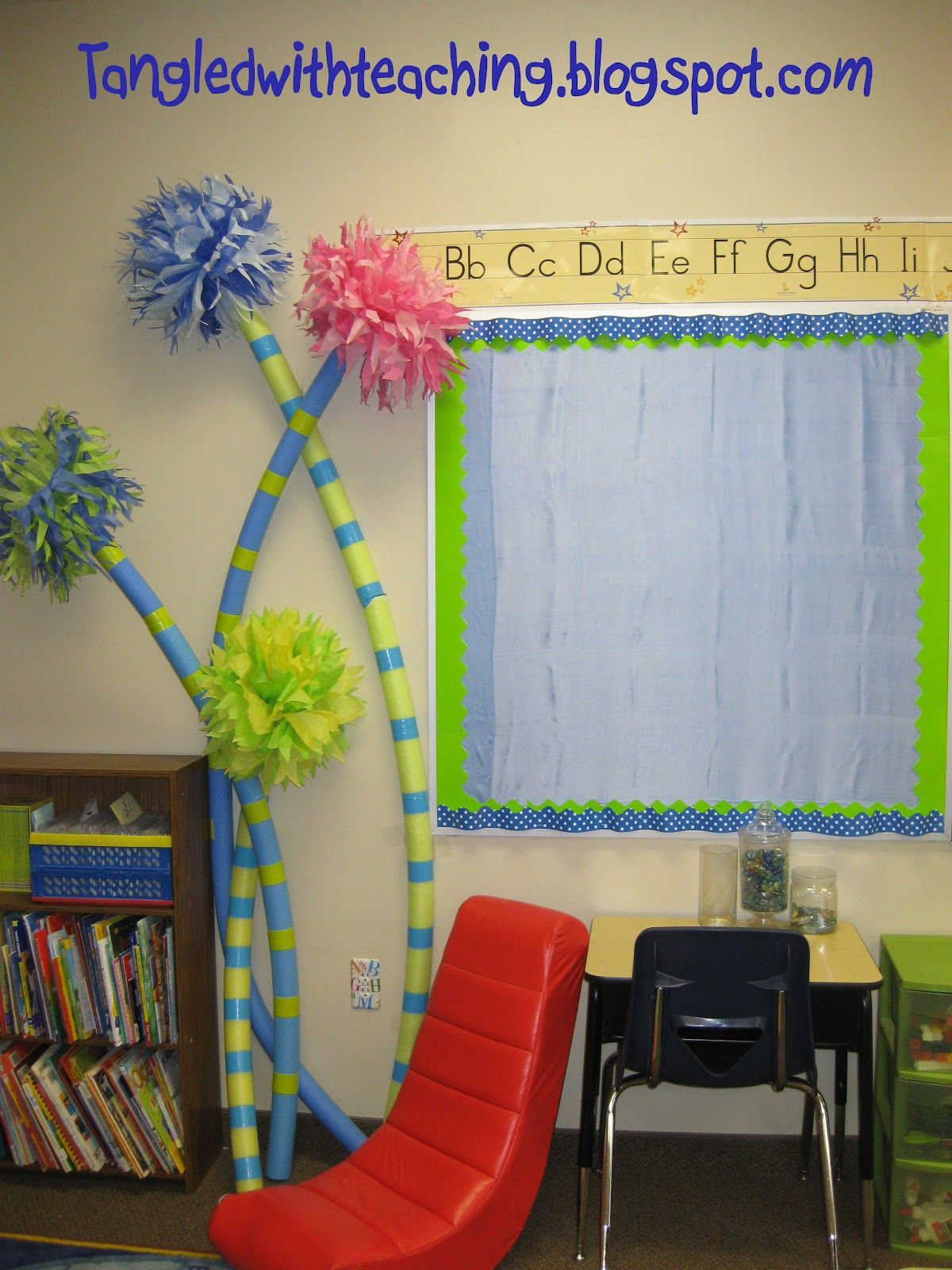 Dr. Seuss activities: Lorax ideas: Make truffula trees out of pool noodles,