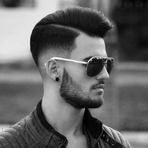 Pompadour With Comb Over And Low Skin Fade