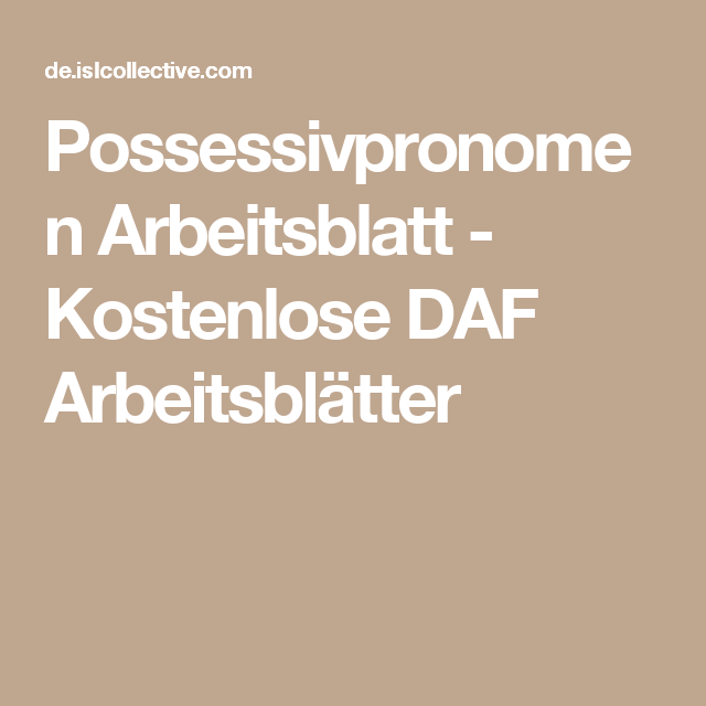 Possessivpronomen | Pinterest | Possessivpronomen Arbeitsblatt ...