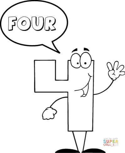 Number 4 Says Four Super Coloring Paginas Para Colorir Paginas De Colorir Da Biblia Numeros Em Ingles