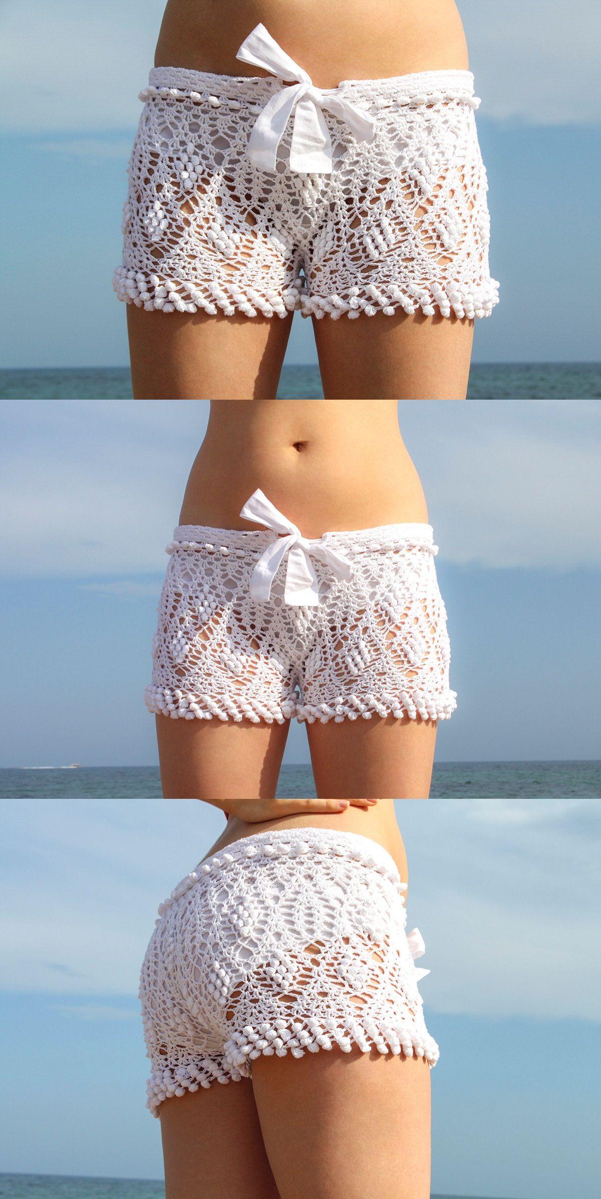 Crochê brancos exclusivos calções de praia | ляпота | Pinterest ...