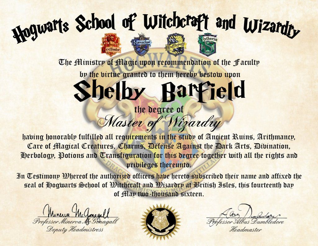 Personalized Harry Potter Diploma - Hogwarts School of ...