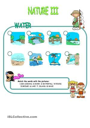 Nature elements - Water matching | NATURE | Pinterest | Worksheets ...