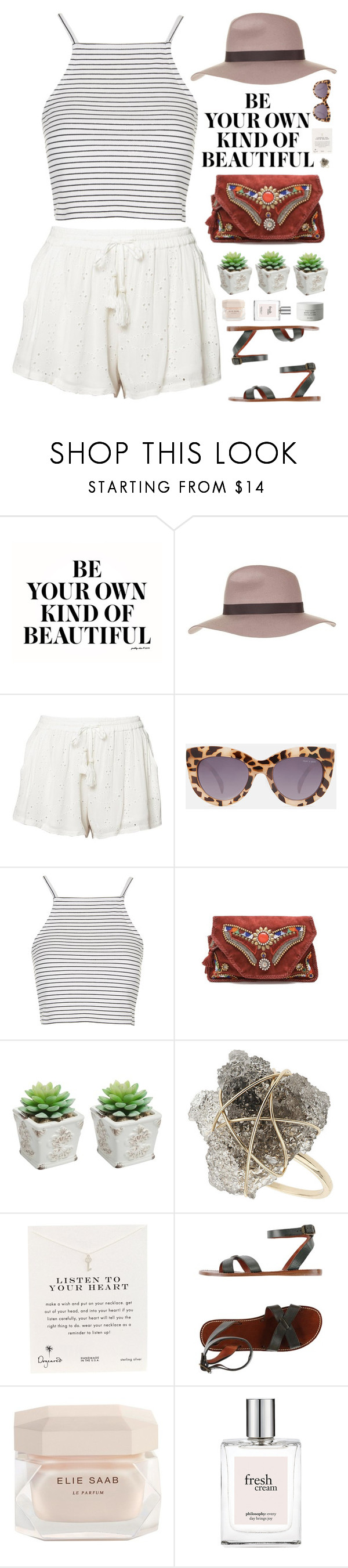 """""""You've taught me how to break a heart."""" by biljanamilenkovic ❤ liked on Polyvore featuring Topshop, Free People, Quay, Antik Batik, Dogeared, Isabel Marant, Elie Saab, philosophy, Byredo and stripes"""