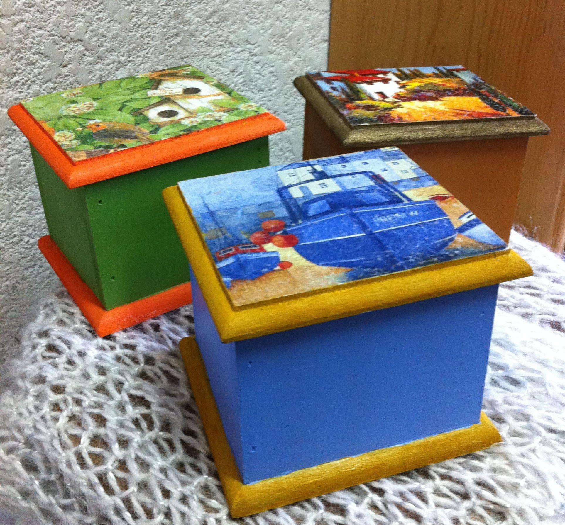 Cajitas de madera pintadas a mano combinado con decoupage - Cajas de madera pintadas a mano ...