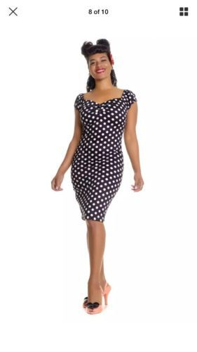 889bebdc3dd Collectif Dolores Polka Pencil Wiggle Dress Navy 50s 18 BNWT Pin Up ...