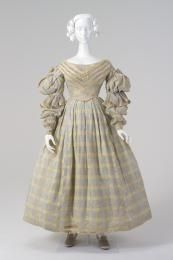 ca. 1837 Day dress, cotton / satin, worn by Esther Hovell (nee Arndell), wife of William Hovell, maker unknown, [Australia]