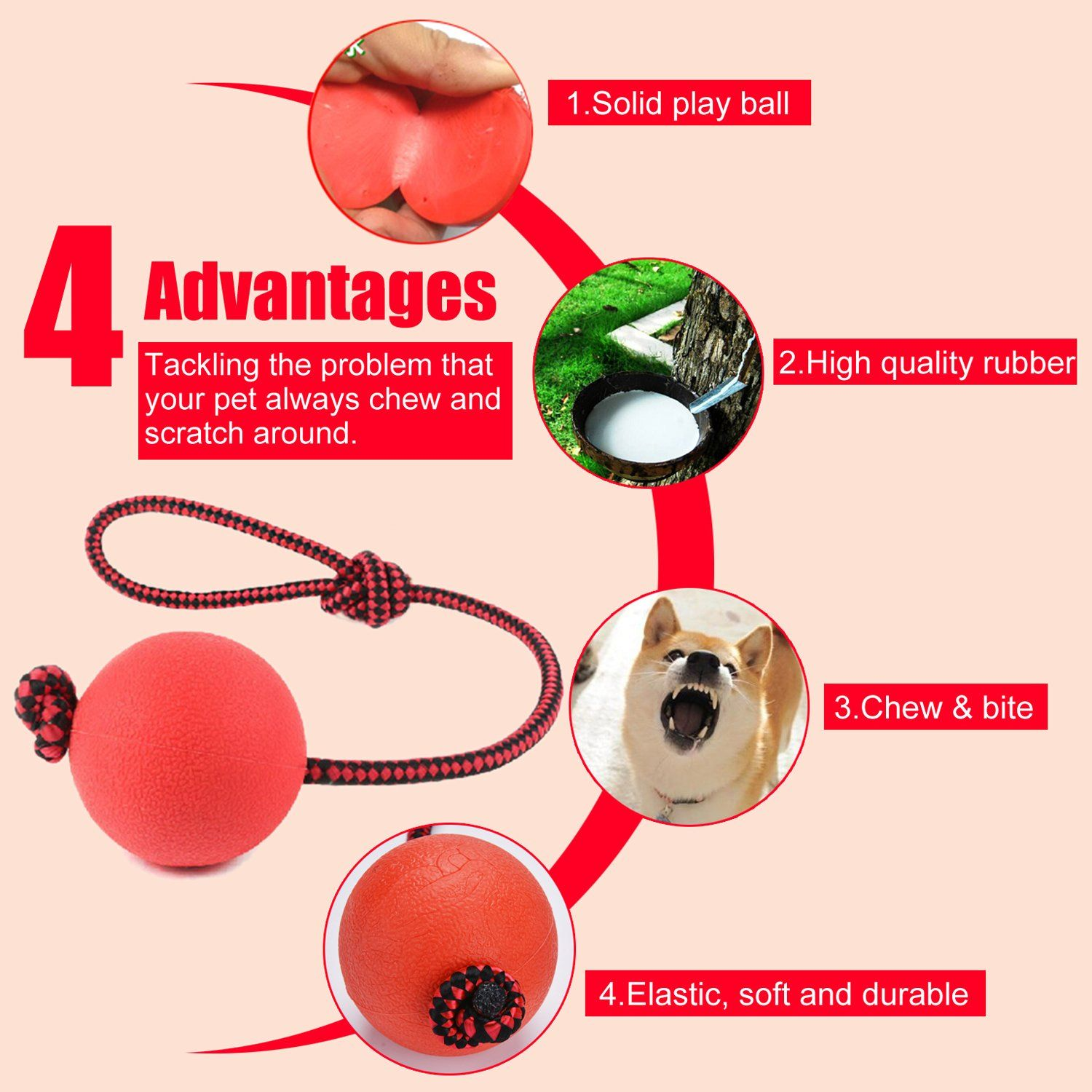 Legendog Dog Ball 3 Pack Rubber Dog Balls With Rope Dog Toys For Training Durable Tennis Balls For Dogs Red Click Im Dog Ball Dog Toy Ball Dog Ball Launcher
