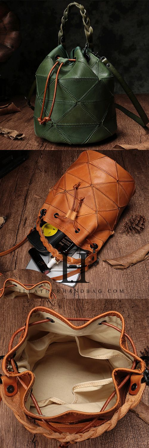 Photo of Green Bucket Bag Leather Drawstring Bucket Bag Shoulder Bag