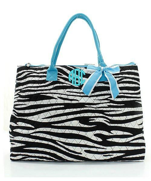 """Personalized Zebra Turquoise 21"""" Quilted Tote Bag"""