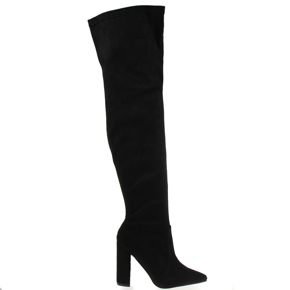 Czarne Muszkieterki Stiletto Stiletto Boot Boots