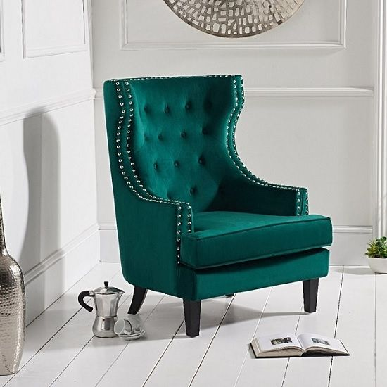 Irina Modern Accent Chair In Green Velvet With Black Legs