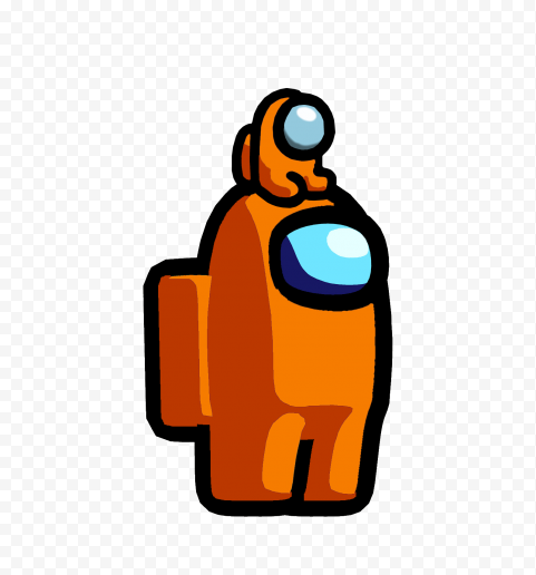 Hd Orange Among Us Game Character Baby On Head Png Citypng Game Character Png Character