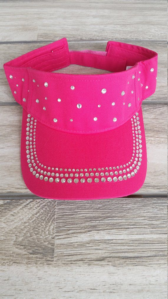 Crystal Sun Visor Bling Hot Pink Cotton One Size Equestrian Ladies Girls  Sports Bridal adc59880b3a