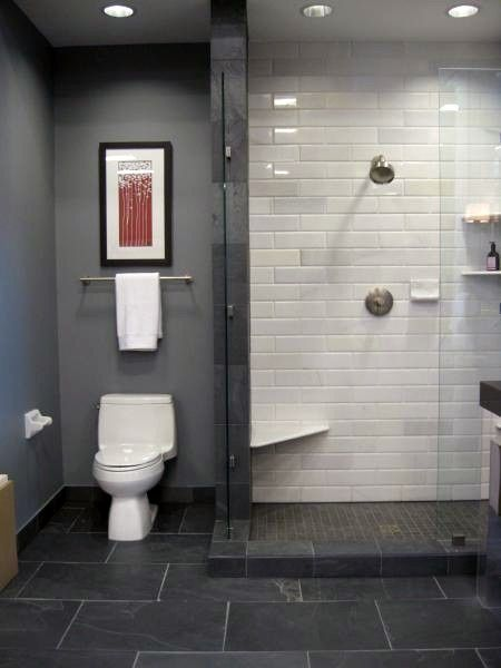 What I love Slate and subway tile in bathroom also glass shower