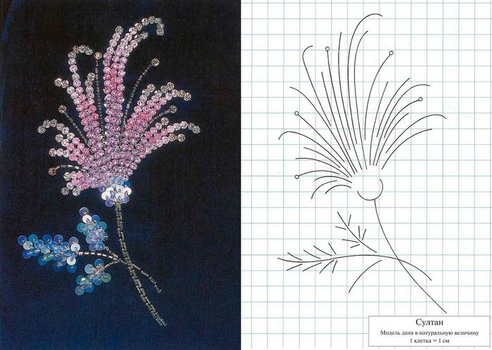 pattern for beadwork and finished example