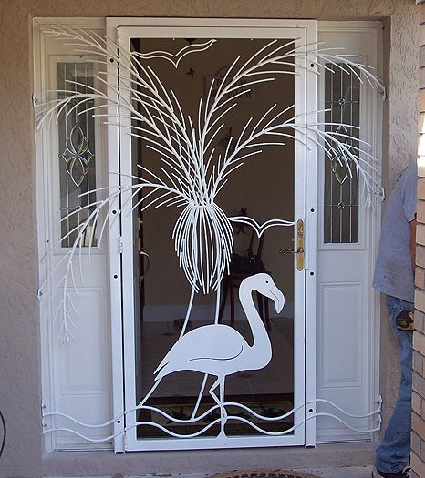 Ornamental Iron Screen Door With Flamingo And Palm Tree