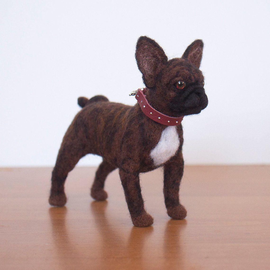 French Bulldog Puppy Statue Needle Felted Frenchie Brindle Dog
