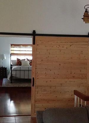 Modern natural pine sliding barn door with horizontal ...