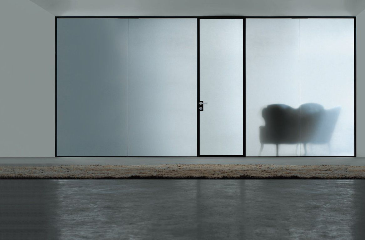 Swing Door And Room Dividers In Black Anodized Aluminum And Frosted